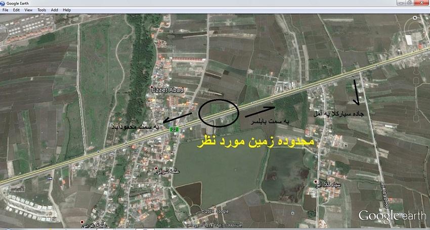 کروکی زمین 1100 متری بر جاده اصلی بابلسر به محمودآباد